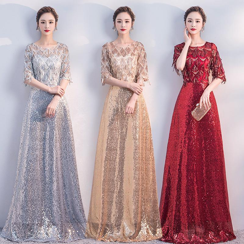 Evening dress lady's woman Bridal gown Party Dresses long stage clothing performance New banquet dress Lace A0010