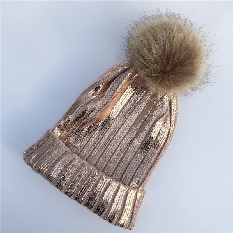266523c0437 2018 New Winter Metallic Pink Ball Beanie Hat For Women Fluffy Double Faux  Fur Pom Pom Knitted Skullies Beanie With Pompom Winter Hats Beanie Hats  From ...
