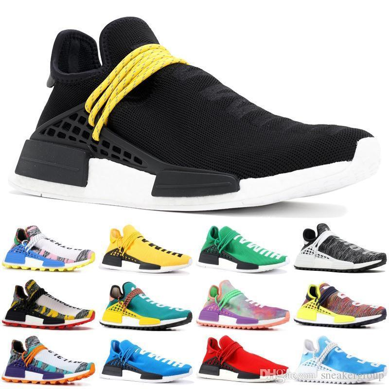 100% authentic 9c9d0 908a4 Human 2019 Race Nmd Runing Shoes With Box Men Women Solar Pack Black Yellow  Pw Hu Holi Pharrell Williams Designer Sport Sneakers