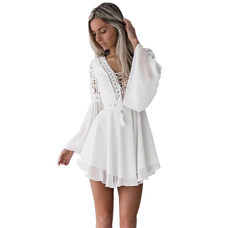 Hollow Out Chiffon Dress Sexy Women Mini Dress Criss Cross Bandage Lace Semi-sheer Plunge V-Neck Long Sleeve Dress Black/White