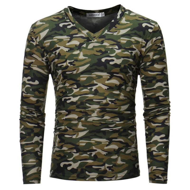ab1a0d969 New Autumn Mens Casual T Shirts Camouflage Brand Clothing Long Sleeve Army  Green Man'S Slim Fit T Shirts Tops Tees T Shirt Printing Shirts From  Baisheng10, ...