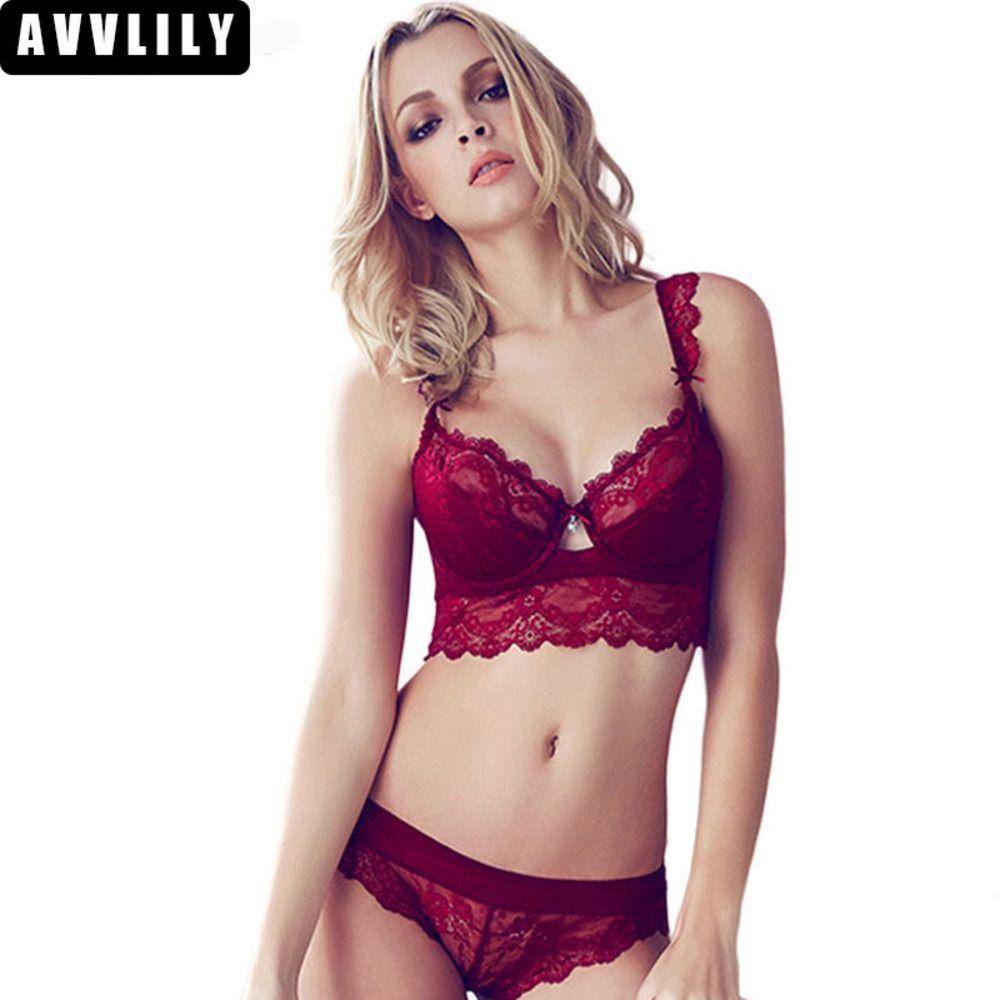 121eb5a68 2019 All Sexy Women Sexy Foam Bra Ultra Thin Red Black Lace Bra Underwear  Push Up And Panty Set Of A