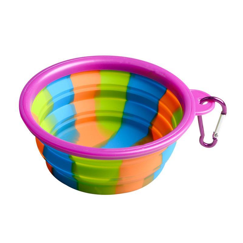Camouflage bol pour animaux de compagnie Silicone bol pliant pliant bol avec mousqueton bol de chien pour animaux de compagnie portable pour le voyage en plein air nourriture alimentation en eau