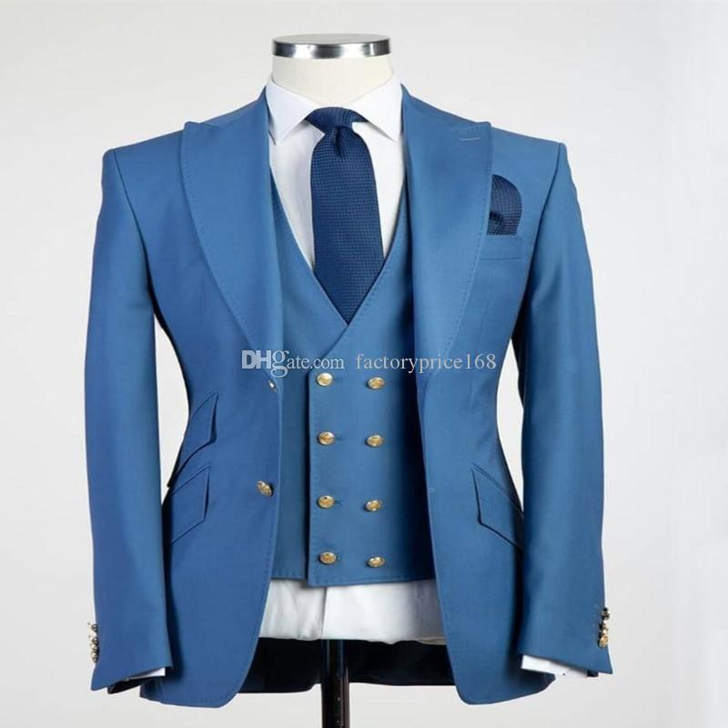 Fashionable Two Buttons Groomsmen Peak Lapel Groom Tuxedos Men Suits Wedding/Prom/Dinner Best Man Blazer(Jacket+Pants+Tie+Vest) A158