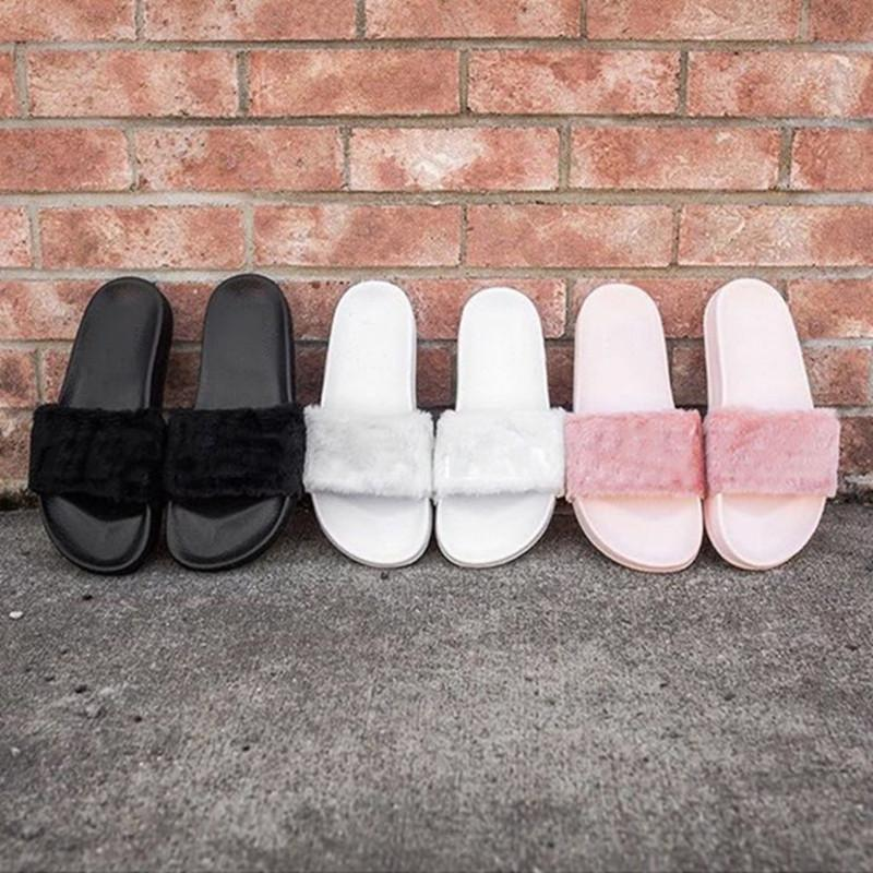 Leadcat Fenty Rihanna Shoes Women Slippers Indoor Sandals Girls Fashion Scuffs Pink Black White Grey Fur Slides Without Best Quality