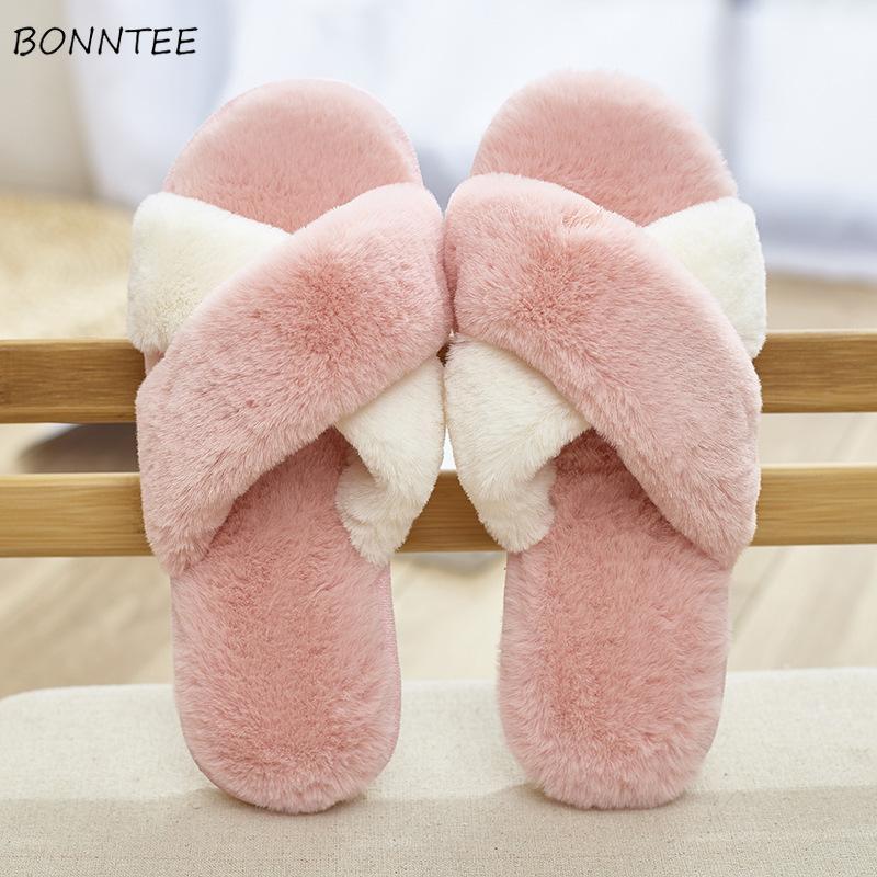 7306b0234 Winter Slippers Women Cute Warm Faux Rabbit Fur Cross Plush Home Slipper  Korean Womens Simple Soft Leisure Flat With Floor Shoes Moccasins Thigh  High Boots ...