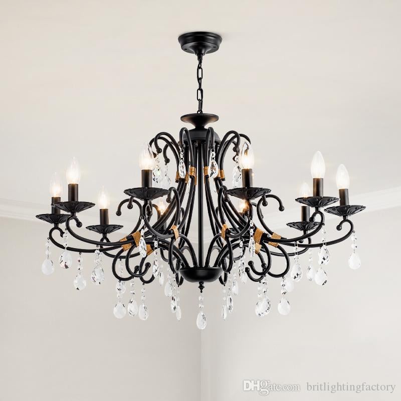 American Crystal Chandelier Lighting Luxury Living Room Home Pendant Lamp Country Retro Wrought Iron Chandelier Bedroom Black Crystal Lights