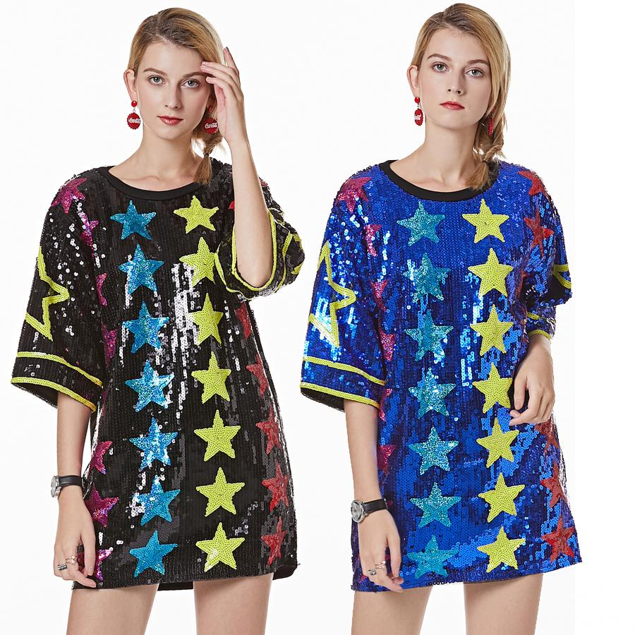 Short Sleeve T Shirt Women Loose Sequined Star Printing Blouse Casual Tops T Shir 4 Colour Selec NO:567