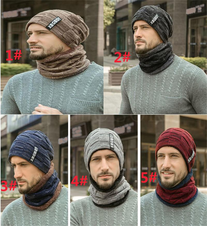warm Knitting Hat Scarf Set Men Solid Color Warm Cap Scarves Male Winter Outdoor dad hats Scarf designer hats caps men 1set dc831