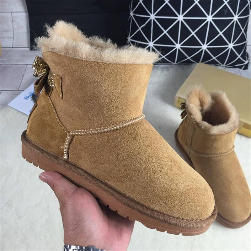 CUWHF New Arrival 2018 Woman Winter Classic Snow Boots Genuine Sheepskin Women's Boots High Quality Shoes