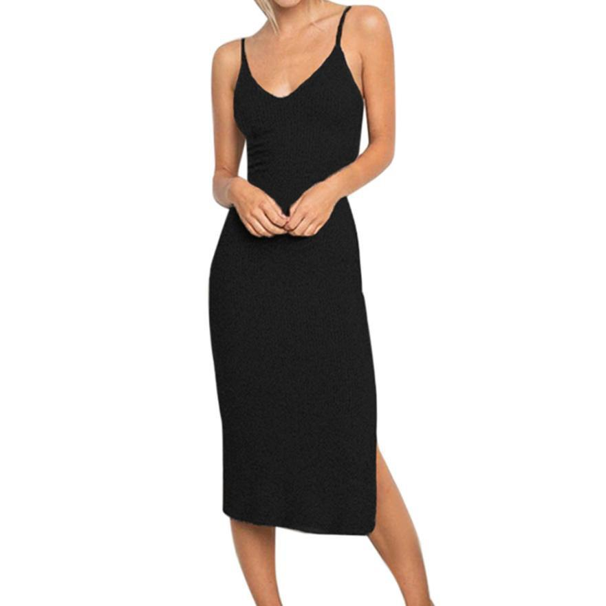 O Neck Tank Black Midi Dress