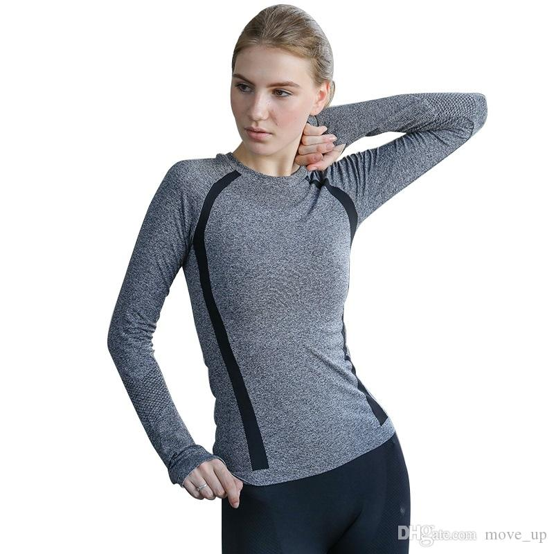 d7b382ceefcada Gray Seamless Yoga Shirts for Women Vital Seamless Long Sleeve Crop Top  Thumb Hole Fitted Gym Top Shirts Workout Running clothes #103950