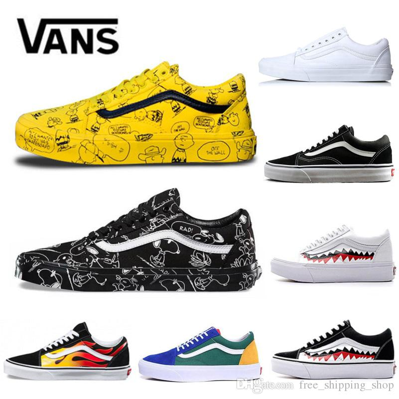 87888b8378d Original Vans Old Skool Men Womens Casual Shoes Rock Flame Yacht Club  Sharktooth Peanuts Skateboard Mens Canvas Sports Running Shoes Sneaker  Fashion Shoes ...
