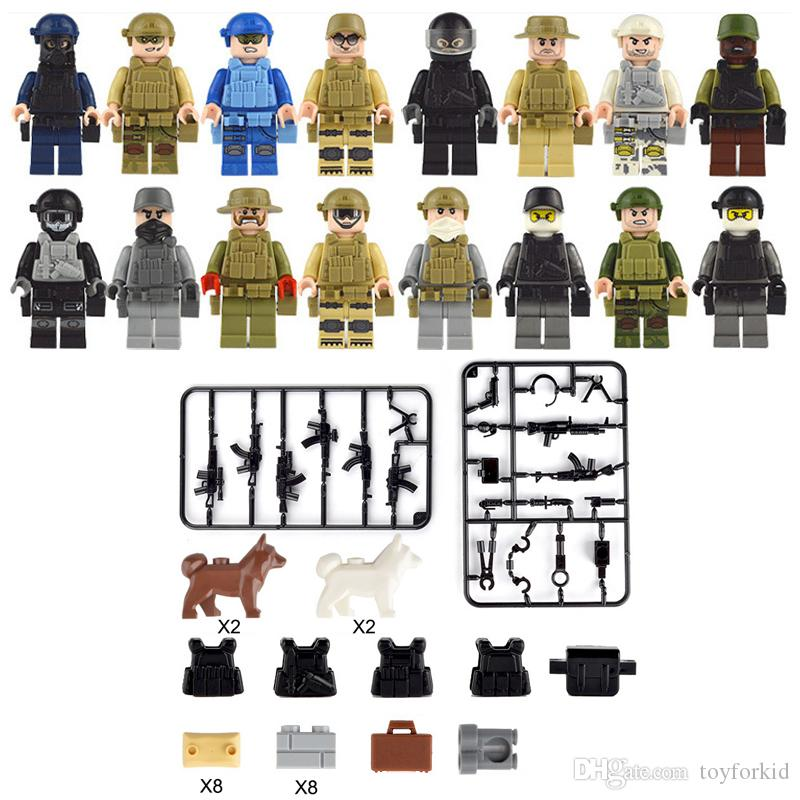 16pcs Lot United States Navy Sea Air and Land Special Force Navy Seals Militare Figura con arma Building Block giocattolo del mattone per Boy