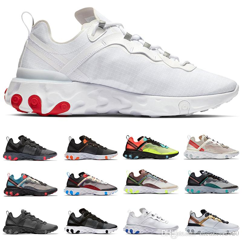 87 React Element 55 Running Shoes For Men Women Volt Triple Black White Game Royal Sail Solar Red Fashion Mens Trainer Sport sneaker