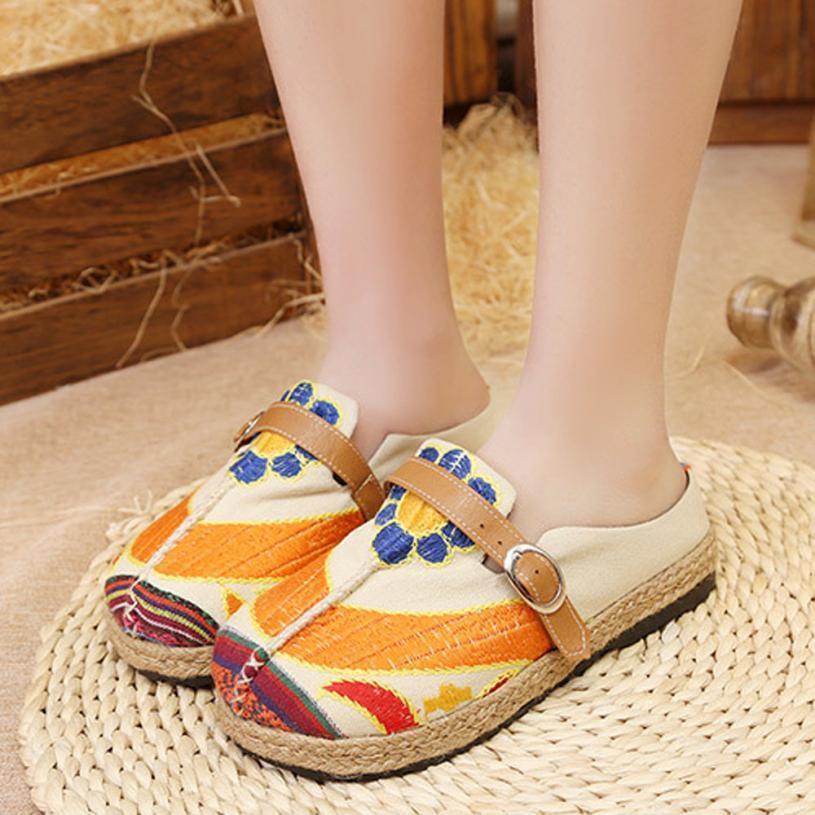 4de49d663 SAGACE Shoes Flip Flops Women Girl Sandals Flat Bottom Espadrilles Flower  Embroider Sandals Slipper Shoes Women 2018JUl6 Slippers For Men Moccasins  For Men ...