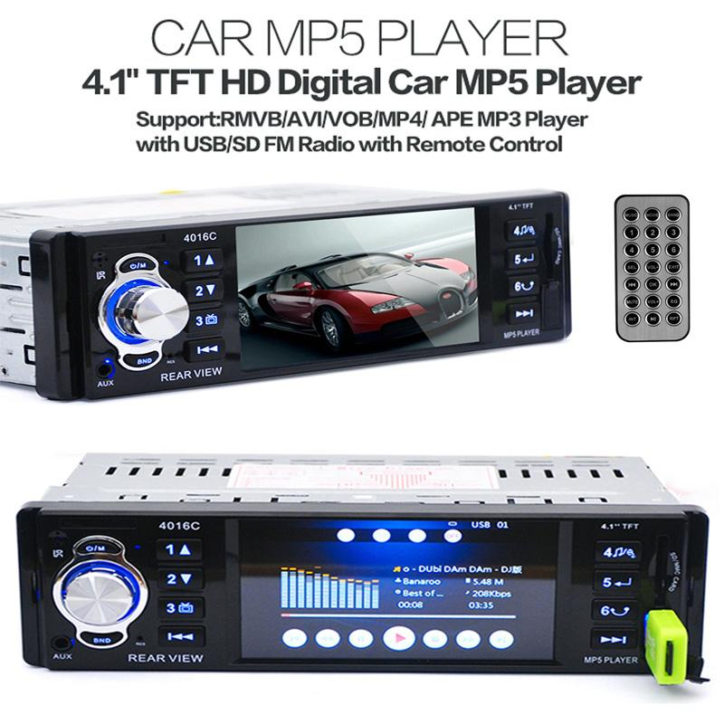"New 12V Car MP4 MP5 Player Support Rear View Camera 4.1"" TFT HD Digital Stereo FM Radios MP3 MP4 Audio Video USB SD In-Dash"