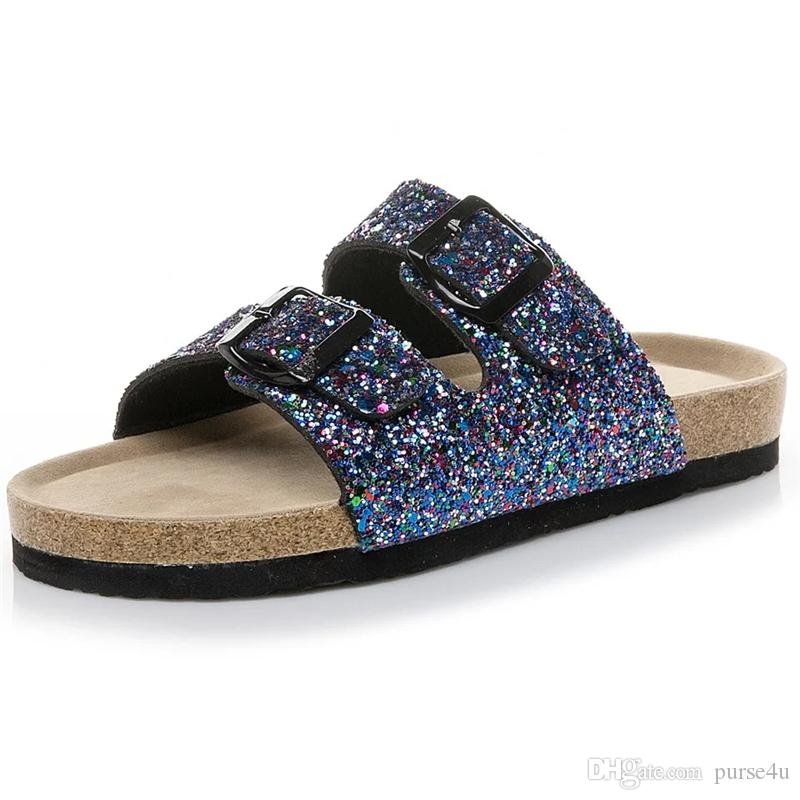 9c0c214ca8eb 2019 Glitter Clogs For Women Summer Casual Sandals PU Shimery Corks Two  Straps With Buckles Desginer Shoes Slides Flats From Purse4u