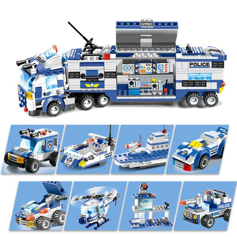 8 In 1 City Police Series Police Station Building Blocks Swat Team Diy Bricks Educational Learning Toys For Children MX190730