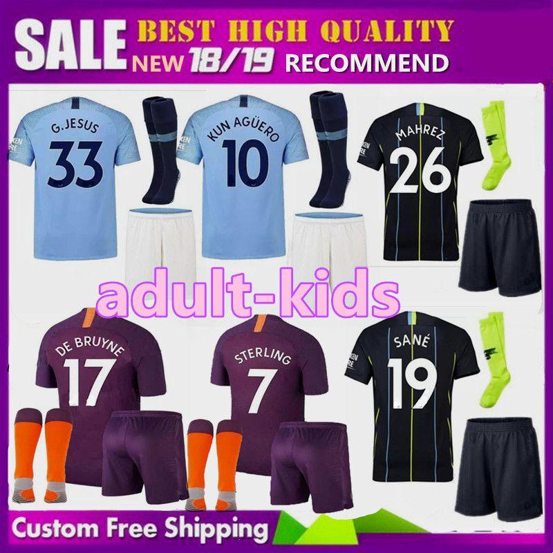 20f5826d4 2019 18 19 MAN Adult KIDS KUN AGUERO CITY DE BRUYNE MAHREZ Soccer Jersey  2018 2019 KOMPANY Bernardo Sane Men Boys Kits Football Shirt From  Xinyan168, ...