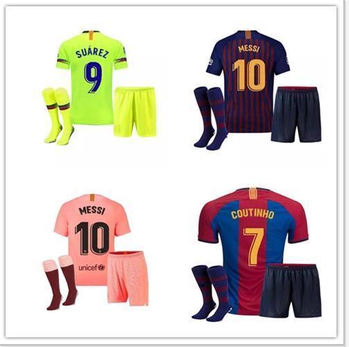 buy online b8e6a be1dd 2018 2019 MESSI Kids kit Soccer Jersey RAKITIC SUAREZ PIQUE Home Away Child  Suit Football Shirts A.INIESTA RAFINHA Girl Kits Short Jerseys
