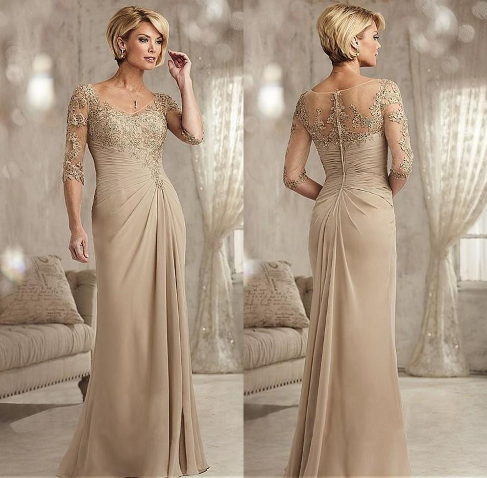 Simple Wedding Dress For Godmother: Beaded Lace Champagne Mother Of The Bride Dresses Plus