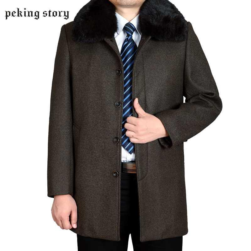 Peking Story Single Breasted And Wool Clothing Men' s Winter Casual Woolen Jackets 50% Off Male Woolen Coat Large Size 3XL 4XL