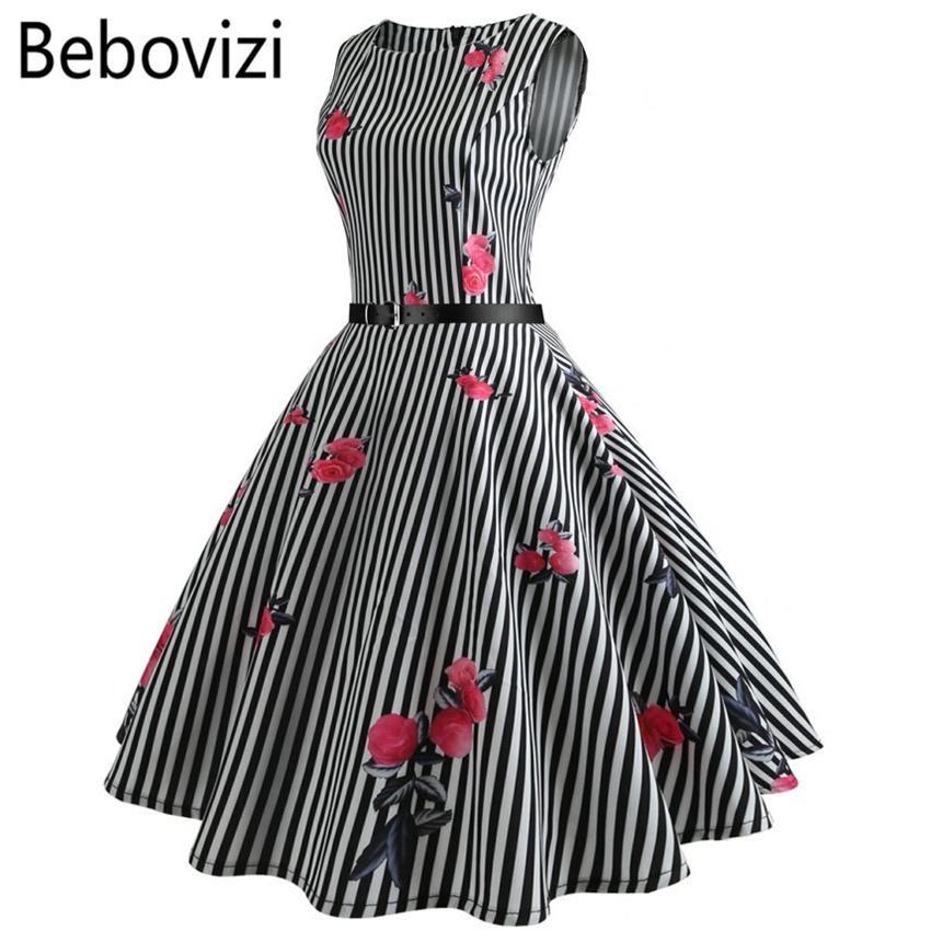 41795a80dd Bebovizi Black And White Stripes Rose Print Big Swing Party Midi Dresses  Robe Femme Summer Women Audrey Hepburn Rockabilly Dress Y190123