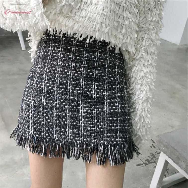 Woolen Women Mini Skirt Plus Size Autumn Winter Vintage Straight Plaid Tassel Skater Solid Femininas Skirt Faldas Mujer