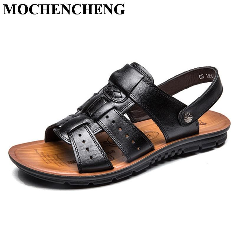 f4aeb29da3be5f Men Sandals Summer Shoes Genuine Leather Slippers Large Size Stylish Solid  Black Flat Casual Footwear Beach Male Shoes Anti Skid Wedding Sandals  Walking ...