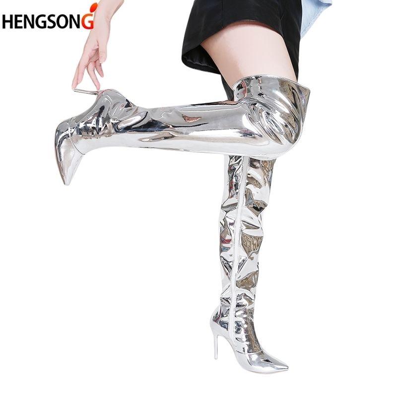 Heels Stiefel Party Frauen Boot Toe Spiegel Mode Plus Zip Shoespointed Helle 2018 Knie Pu High Das Schuhe 43 Über Größe cKu3TJlF1