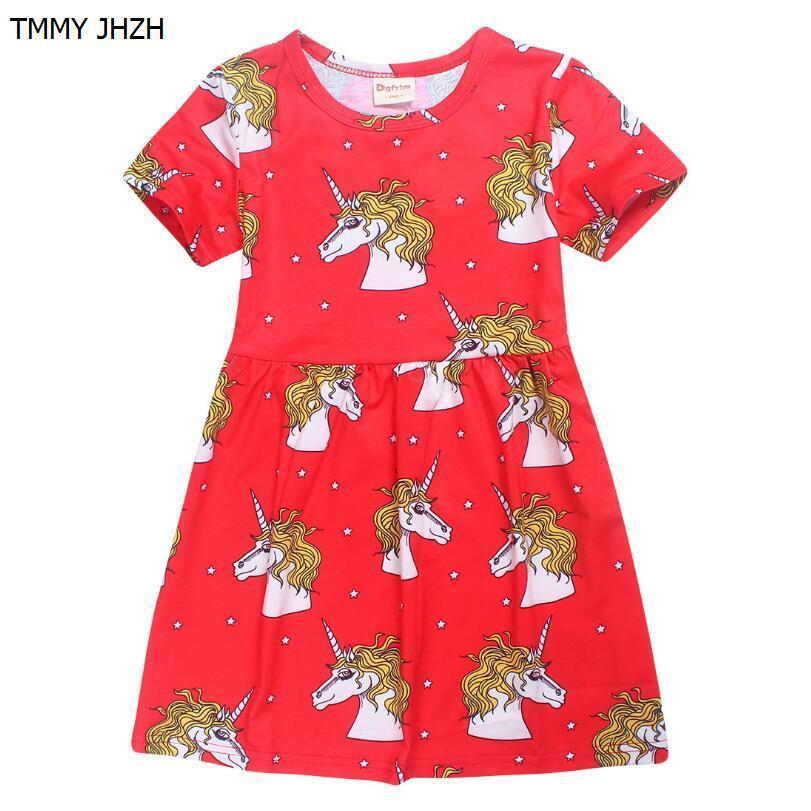 6125e5b272 2019 Girls Dresses 2019 Brand Kids Unicorn Dress Toddler Girls Summer  Clothing Animal Cotton Vestid Children Princess Dress 4 8T From Zerocold09,  ...