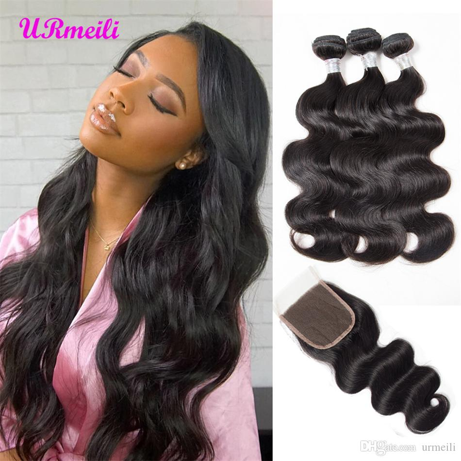 Strict 3 Bundles Malaysian Loose Wave With Pre Plucked Closure With Baby Hair Bouncy Curl No Shedding No Tangle Non Remy Black 1b Hair Extensions & Wigs