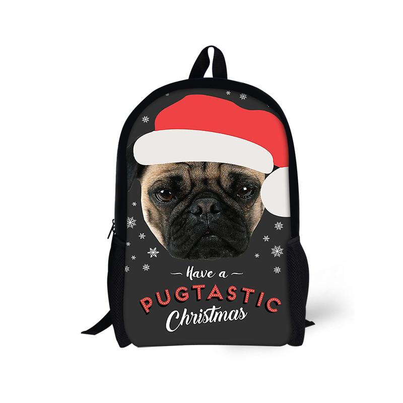 Backpack Childrens Cute France Pug Dog Print Satchel School Bags Christmas Backpacks for Children Men Big School Bag For Girls