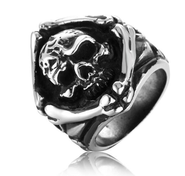 Free Shipping Mixed 5PCS PUNK gothic Gothic Lolita Skull Style Titanium steel Tisco ring Men Band Jewelry Bikers 15