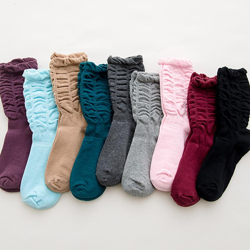 83fe2cdc5 2019 New Casual Socks Female Middle Tube Socks Cotton Candy Color Fashion  Folds Sexy Women Autumn Winter Thick From Modleline