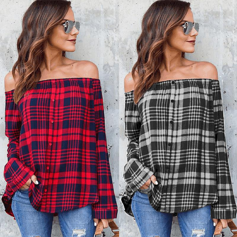 Fashion-Spring Women Plaid T-shirt Slash Neck Long Sleeves Single Breast Pullover Women Grid Printed Off Shoulder Blouse