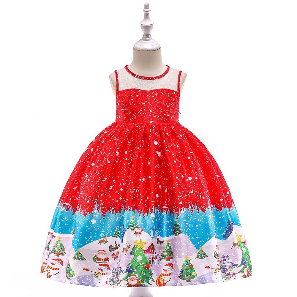 6e8a9cb7ff725 Acheter Bonne Qualité Enfants Robe Bébé Filles Santa Print Princesse Robe  De Noël Tenues Vêtements Robe De Princesse Fille Costume Robe Menina De   29.09 Du ...