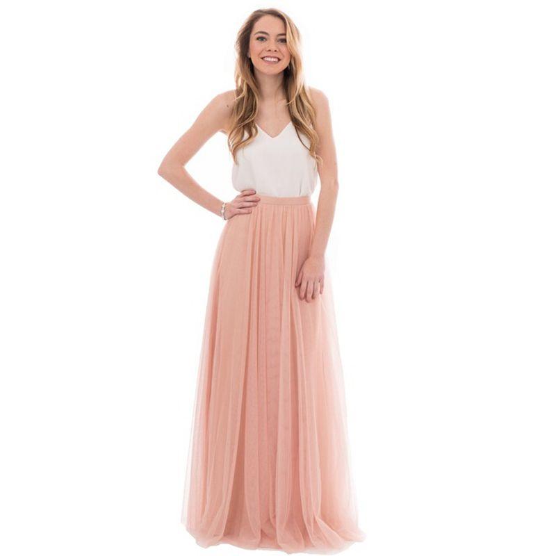 661c97f7e Dinámico melocotón rosa faldas largas de tul para dama de honor a la boda  del estilo de la cremallera falda del tutú para las mujeres por encargo ...