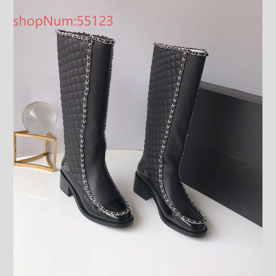 d1d7bc60238 Autumn and Winter 2018 New Chain Round Head Dermis, Fashion Baitie  Stitching Medium-heeled Long Cylinder Boots, Dimensions 35-40