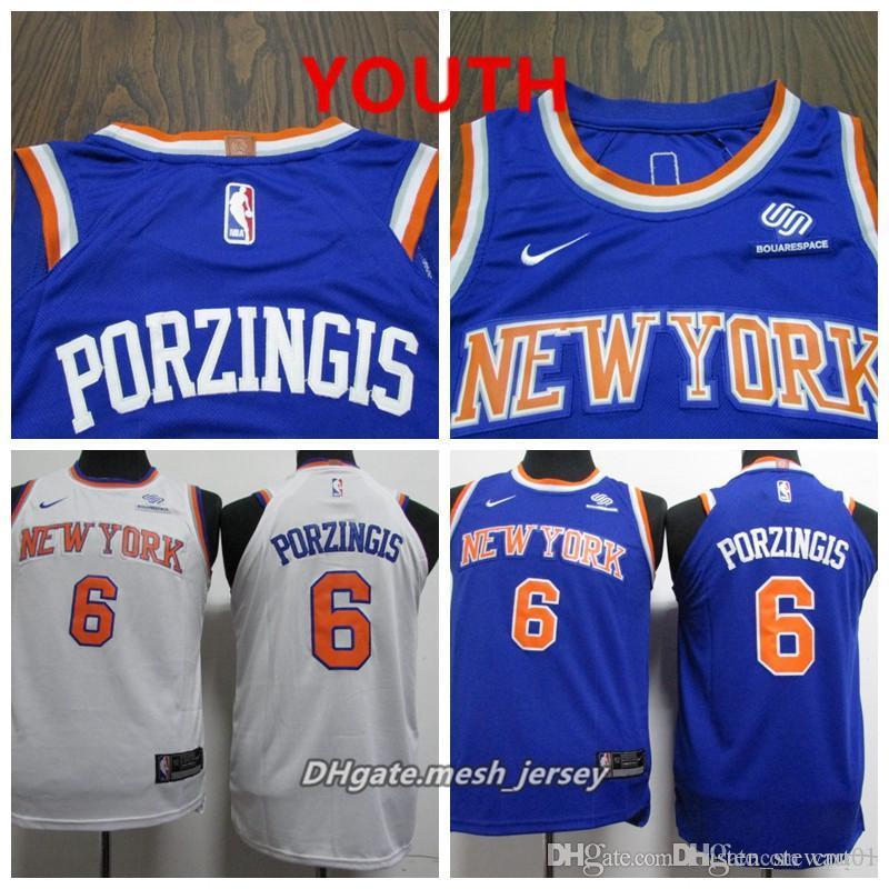 00bd4b26d3cb 2019 Youth Knicks New York Jersey Kristaps Porzingis Stitched Baketball  Jerseys S XL Blue White From Tombrady01