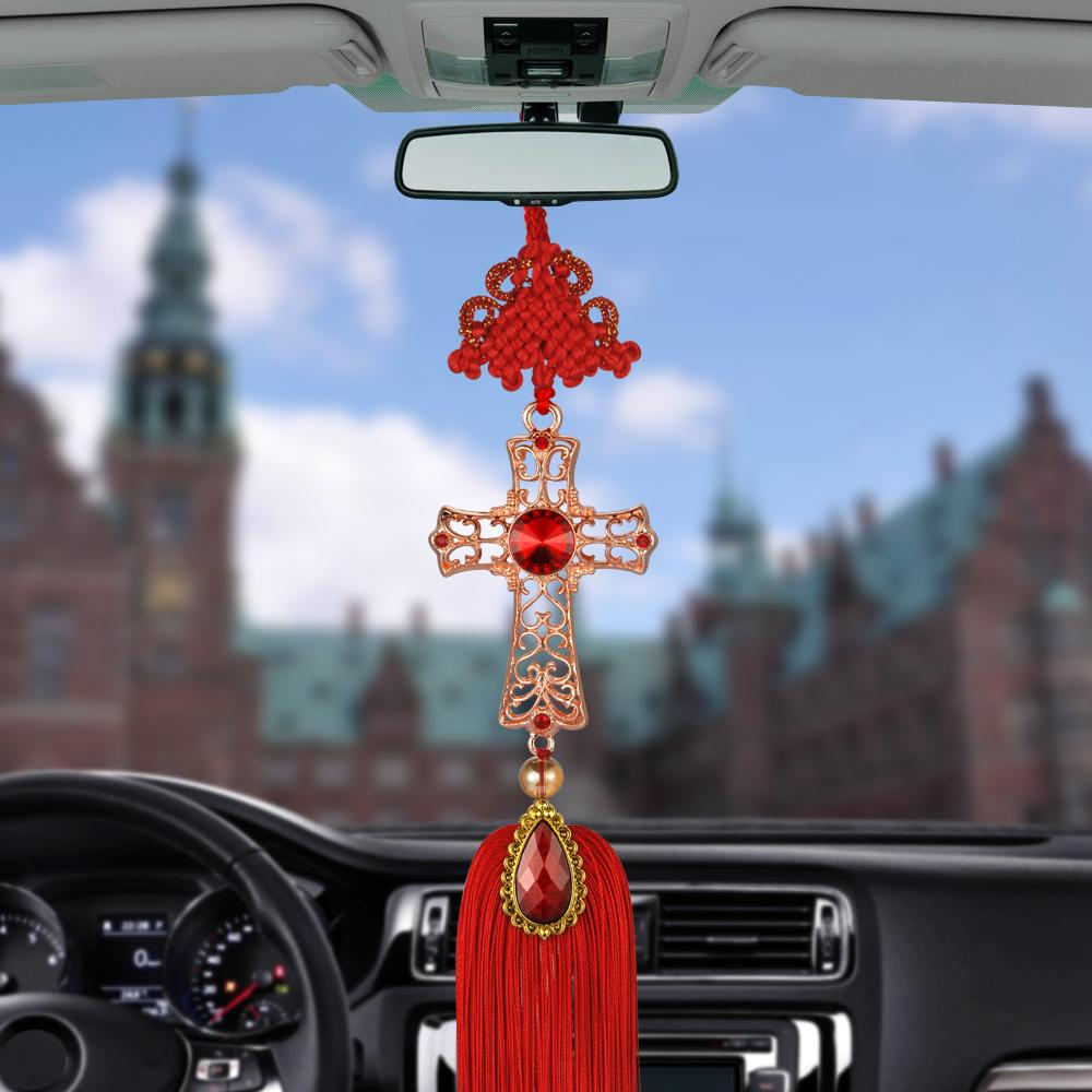 Car Pendant Christian Decoration Cross Hanging Ornament Crystal Alloy Crucifix Automobiles Rearview Mirror Suspension Decor