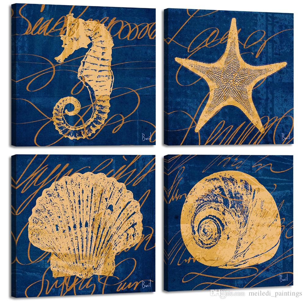 2019 canvas art wall decor 4 panels navy blue seahorse starfish shell painting framed wall art for children room decor from meiledi paintings