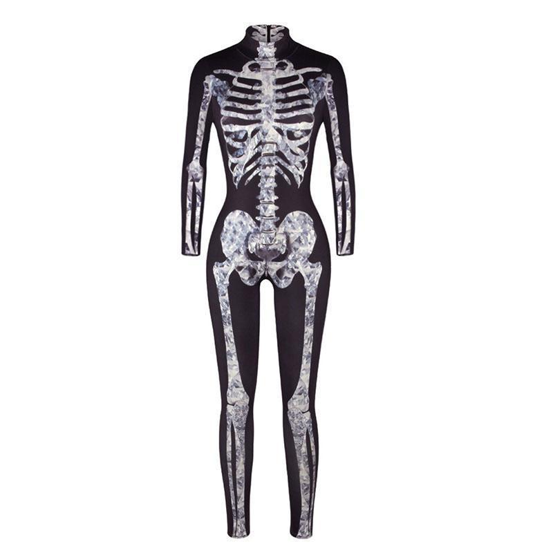 0e6a04f3d6579f Adult Women Halloween Scary X Ray Fever Skeleton Bone Printed Costume  Bodysuit Jumpsuit Black Grey Catsuit Outfit For Ladies Halloween  Accessories Vampire ...