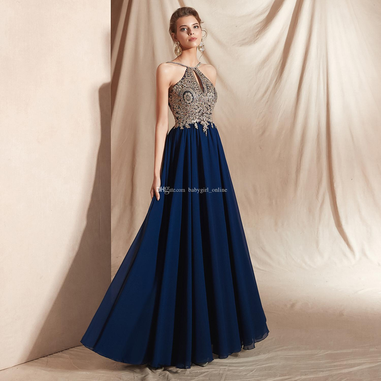 d6748c0bf60 ... Wholesale REAL PICTURE Halter Chiffon Empire Floor Length Exposed  Boning Evening Dress Formal Dress CYH02019E010 Ladies Clothing Uk Long Evening  Dresses ...