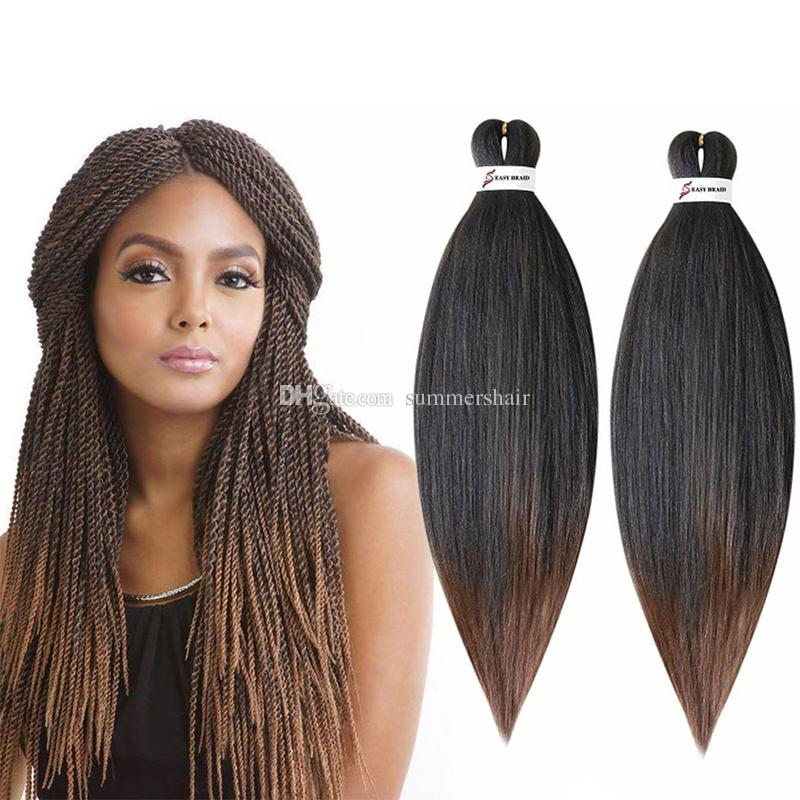 Perm Yaki Easy Jumbo Braids Ombre Pre-stretchedbraiding Hair Synthetic Crochet Braidshair Extension 20 26 Hot Water Hair Extensions & Wigs