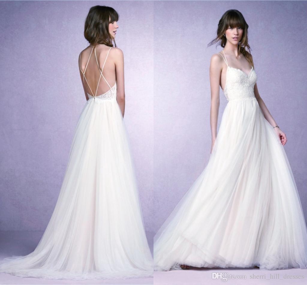 e5d1f96ae5 Beach Ivory Wedding Dresses Sexy Spaghetti Strap Sleeveless ...