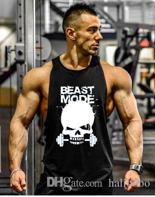 97fcb933e22cb 2019 GYM BEAST MODE Fitness Tank Top Men Bodybuilding Clothing Fitness Men  Shirt Vests Cotton Singlets Muscle Top Punisher GYM VEST BEAST MODE Skull  Online ...