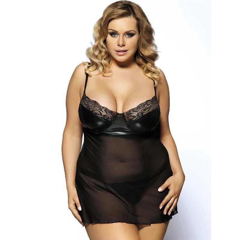 a53898896 Babydolls women sexy lingerie chemise plus size sleepwear sex lace deep v  transparent dress strappy nightwear with g string