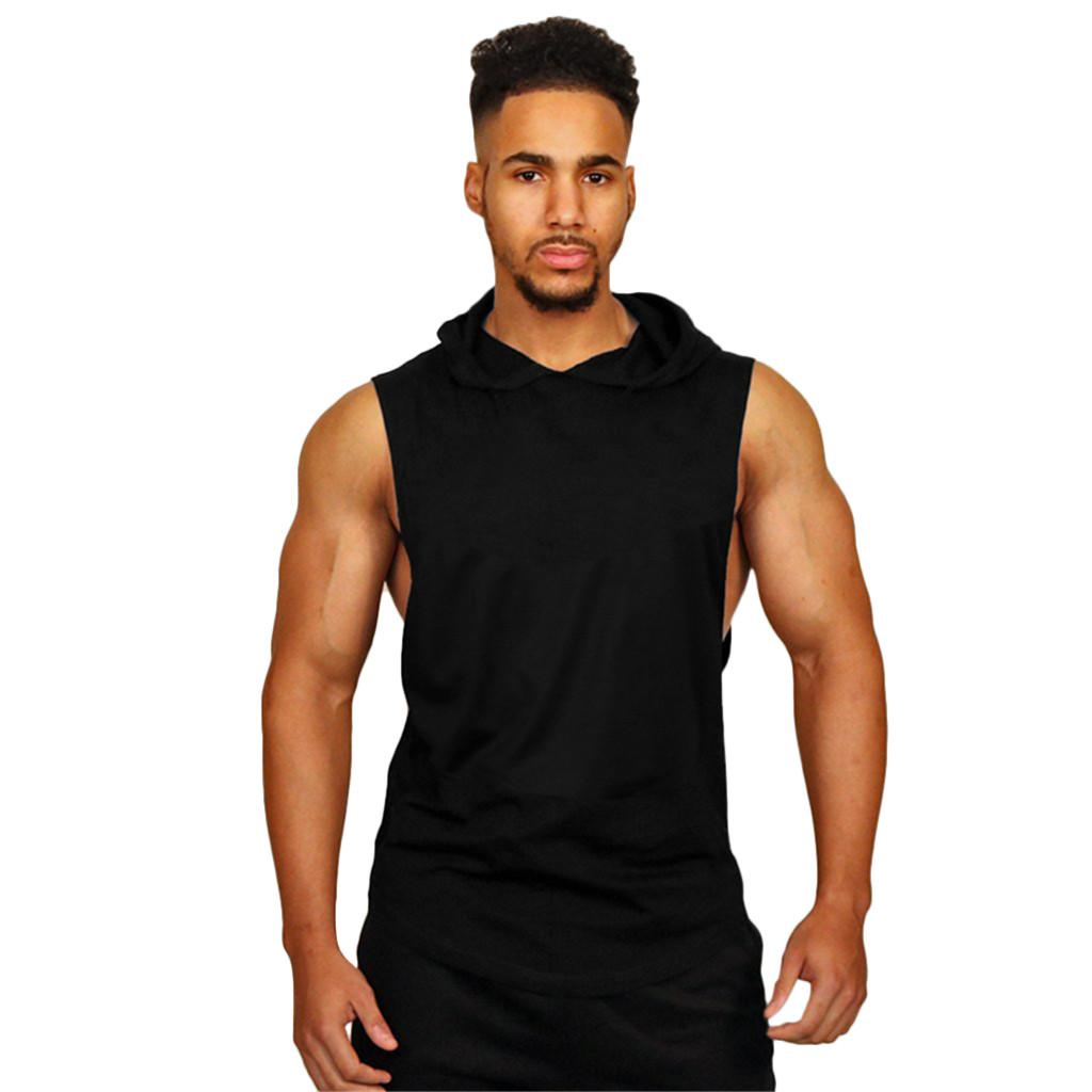 2019 new running breathtable fitness Men Summer New Fashion Solid Sleeveless Fitt Sports Top Blouse Casual Shirts outdoor #727